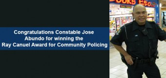 Congratulations Constable Jose Abundo for  winning the Ray Canuel Award for Community Policing